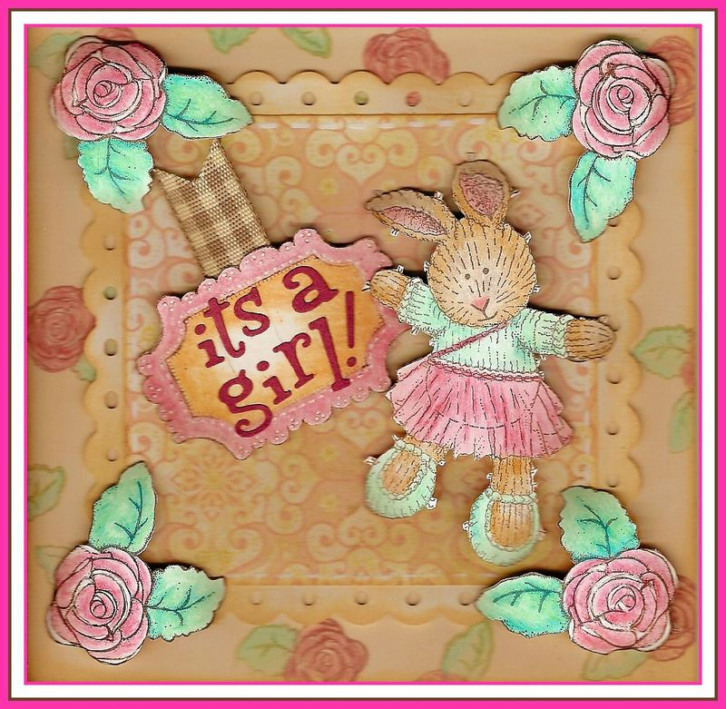 Framed Little Rabbit Birth Card