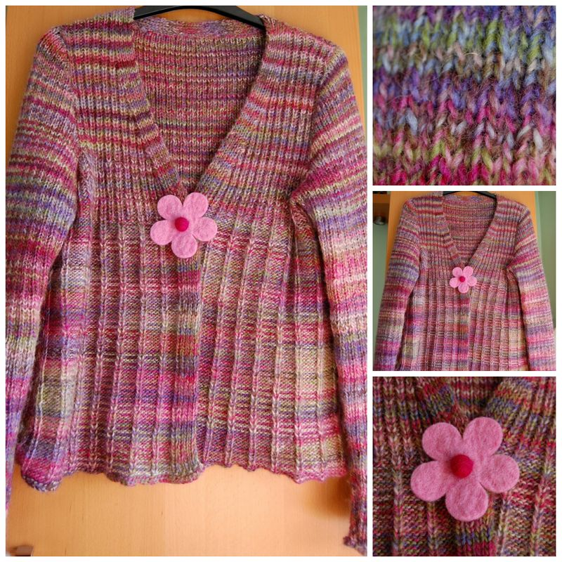 Pink Cardigan collage